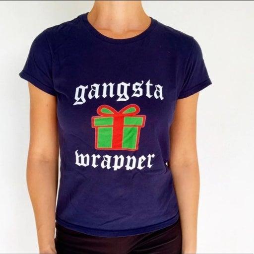 Gangsta wrapper Christmas cotton tee