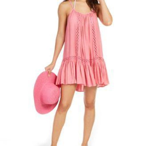 Raviya Crochet-Trim Cover-Up Dress Pink M