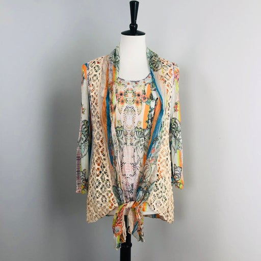 Alberto Makali Sheer Long Sleeve Crochet Vest