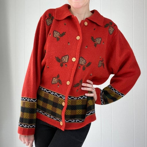 Fall Theme Button Front Sweater L