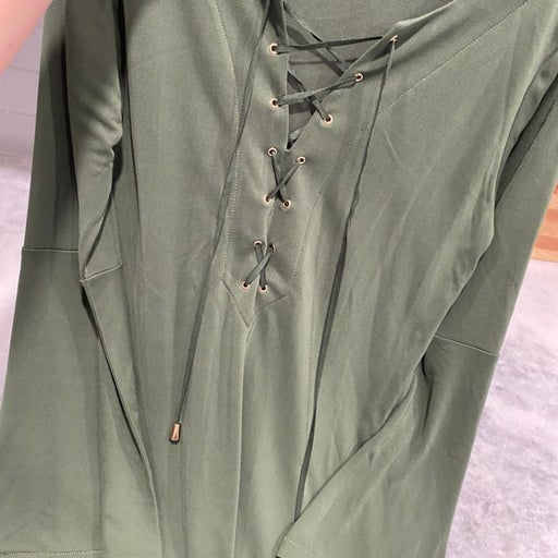 Dark Green Lace Up Blouse (bought in Tha