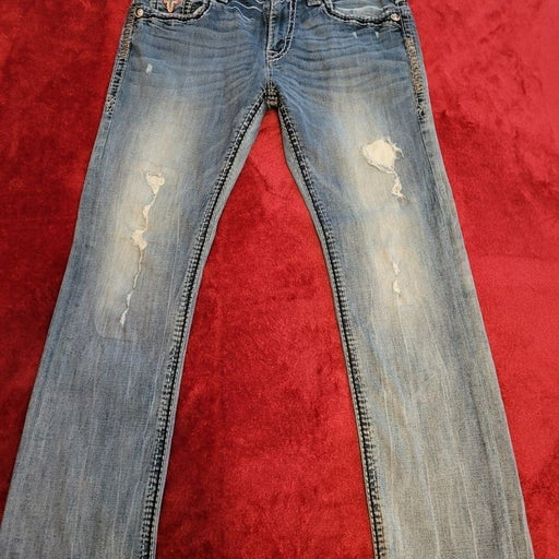 Mens Rock Revival Straight Jeans Size 34