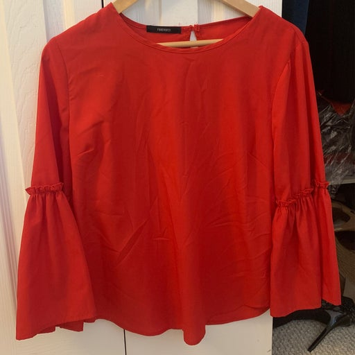 Forever 21 red dressy blouse small