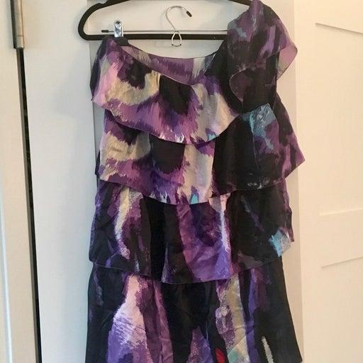CUSTO silk tiered ruffle dress
