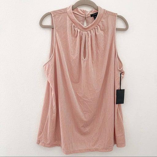 Halogen Womens Blush Pink Velvet Sleeveless Keyhole Top Size XXL
