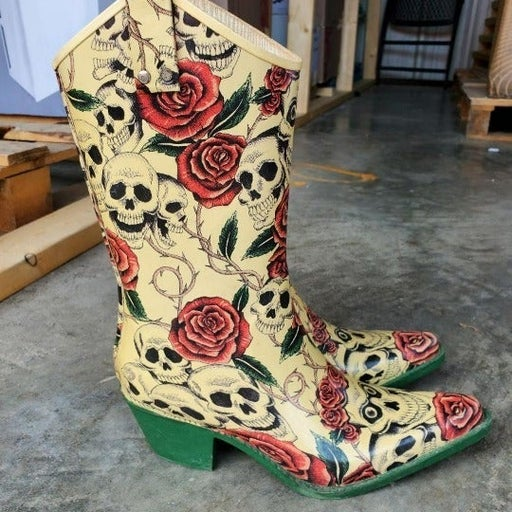 """""""Nomad""""-brand Heeled Rain Boots with Roses & Skulls - Great Condition!"""