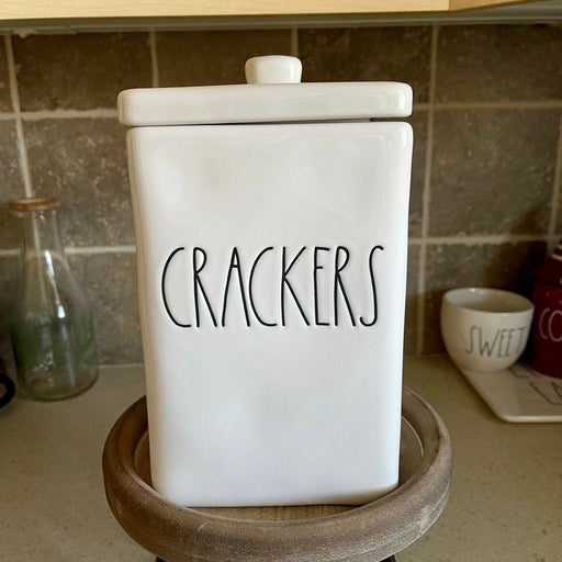 Rae Dunn CRACKERS square canister