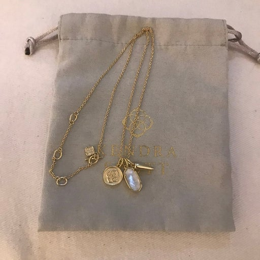 Kendra Scott Dira Charm Gold Necklace in Ivory Mother of Pearl