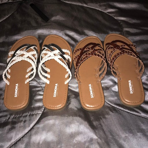 2 Pairs Strappy Thong Sandals 8 NEW