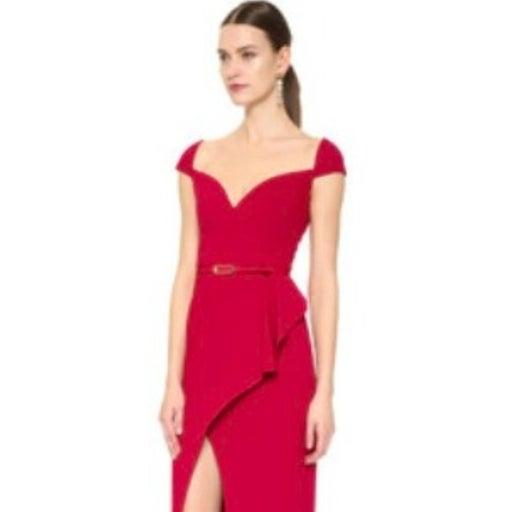 BLACK HALO Prestige Red Sweetheart Neck Midi Dress