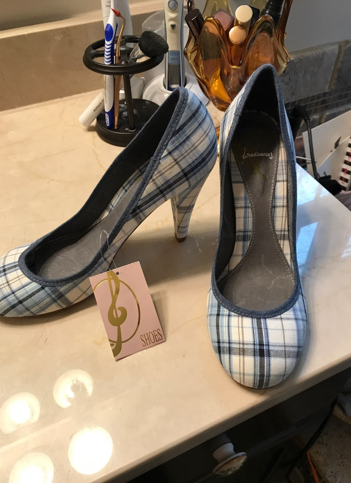 Blue Gingham Heels NWT