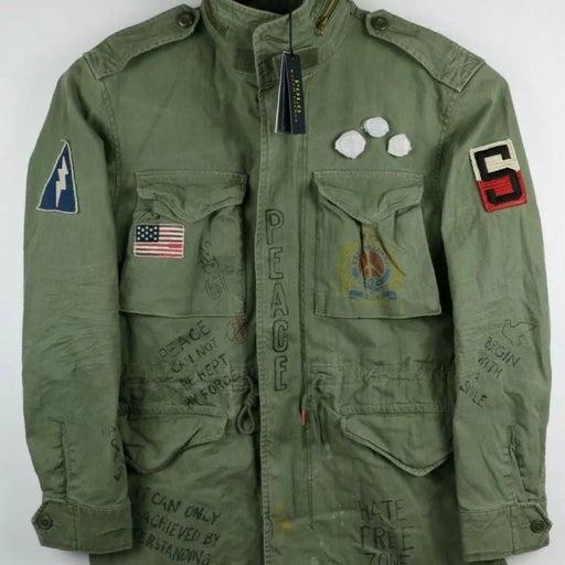 Polo Ralph Lauren Yale M6 Peace print Combat Mens Jacket Aviator Military Size