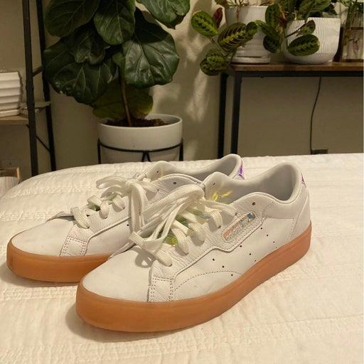 Adidas sleek fashion sneakers, size 9.5