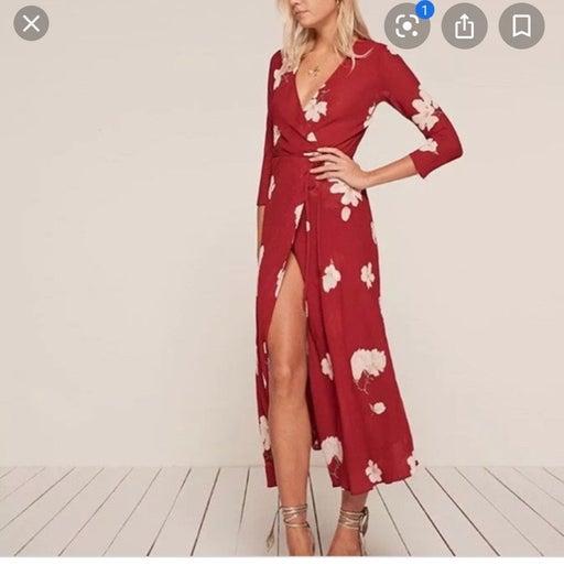 Reformation maxi wrap dress