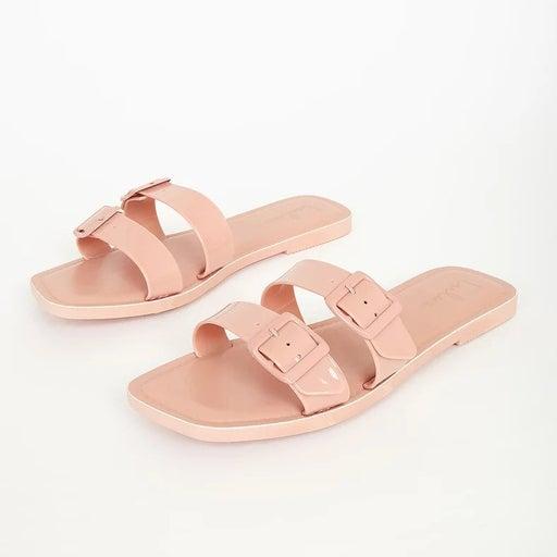 Blush Pink Patent Buckled Slide Sandals