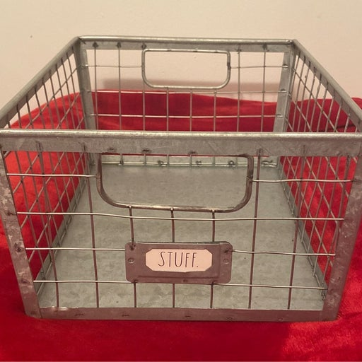 Rae Dunn STUFF Galvanized Metal Basket