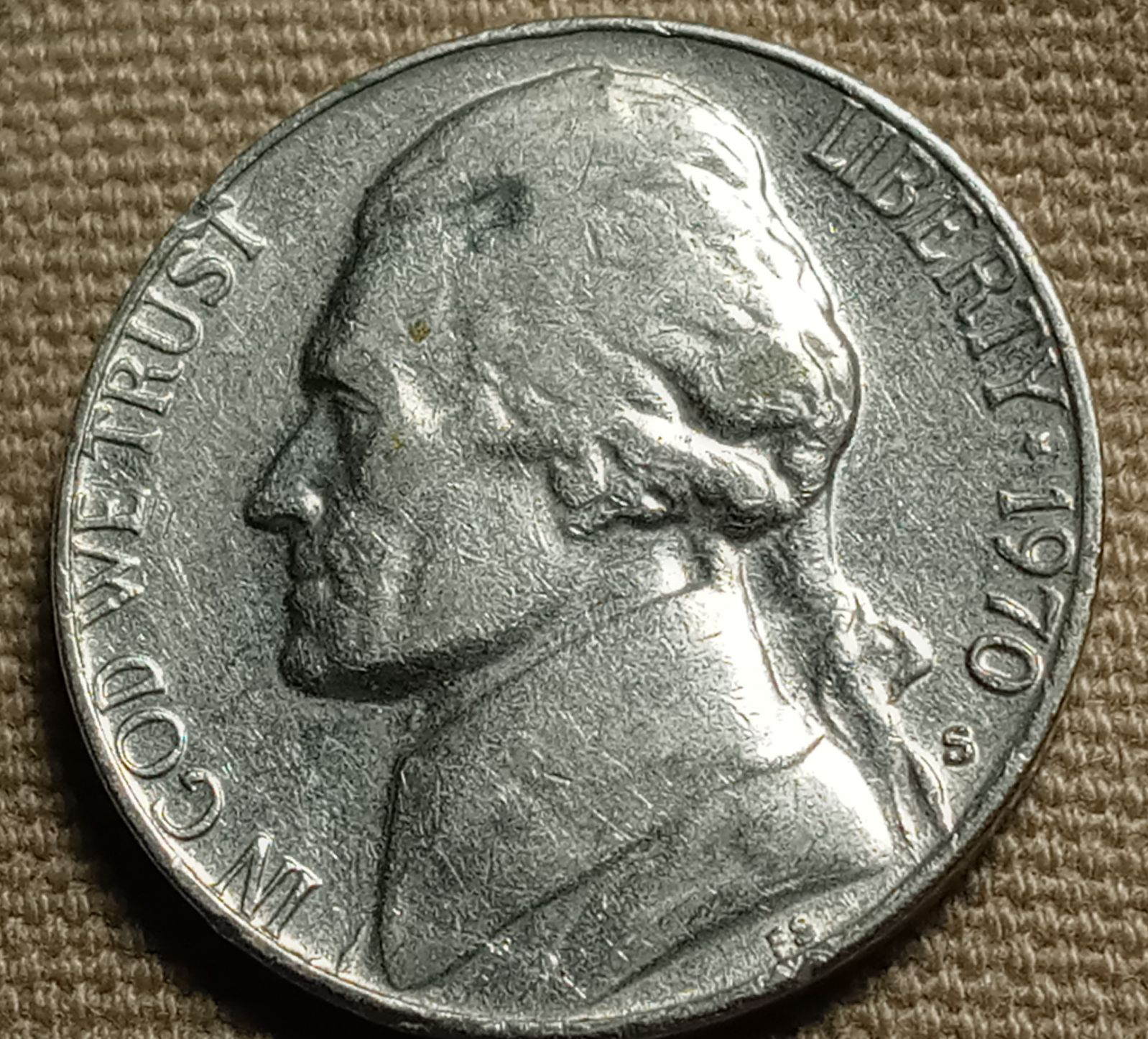 1970S Jefferson proof Nickel with S/D rp