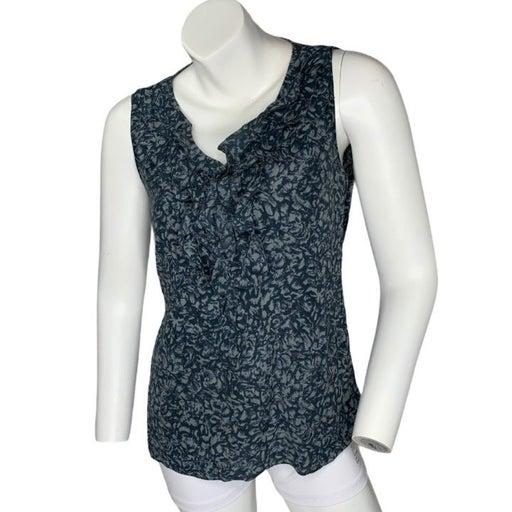 Halogen Medium silk sleeveless tank ruffle v-neck zip