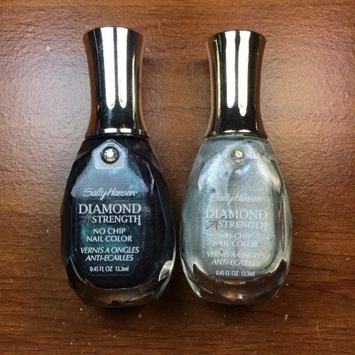 2 Sally Hansen Nail Polishes - Diamond Strength; Black Tie and Something Blue