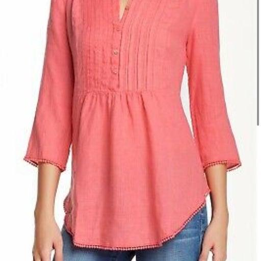 Calypso pink linen halie top