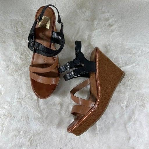 DV Dolce Vita Brown Black Wedge Heel Sandal Slip On Size 10