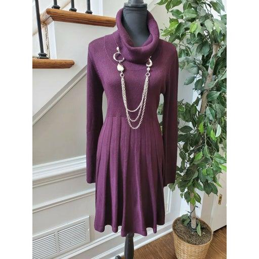 Calvin Klein Women Purple 100% Acrylic Long Sleeve Turtle Neck Knee Length Dress