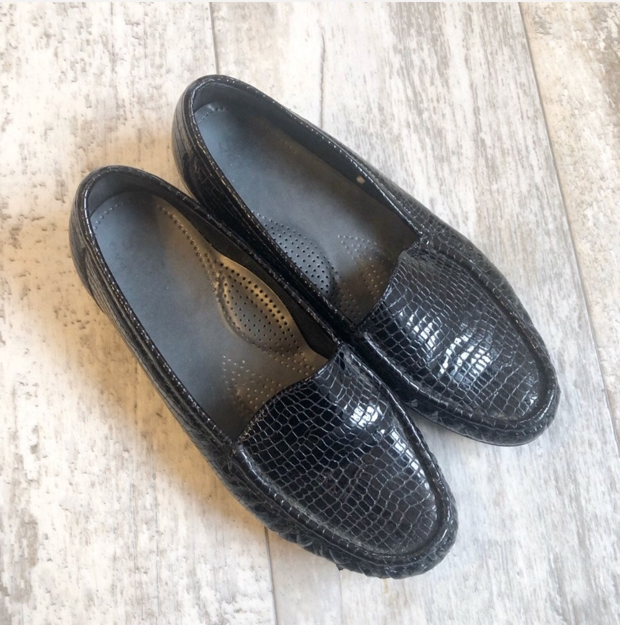 SAS Black Patent Leather Croc Loafers