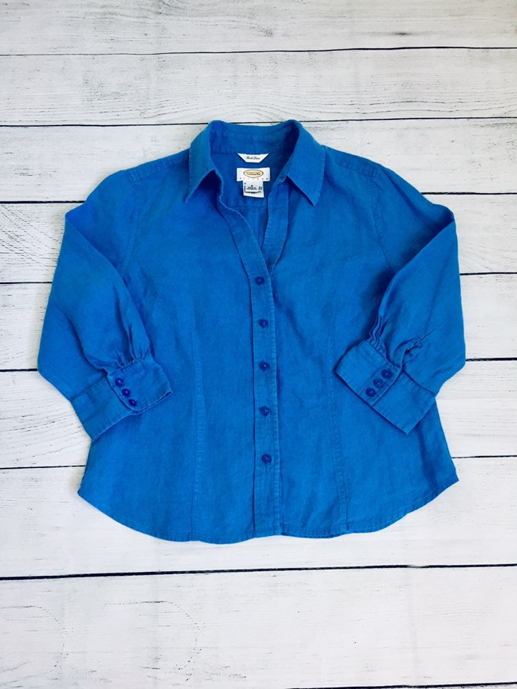 Talbots Petites blue linen Shirt S