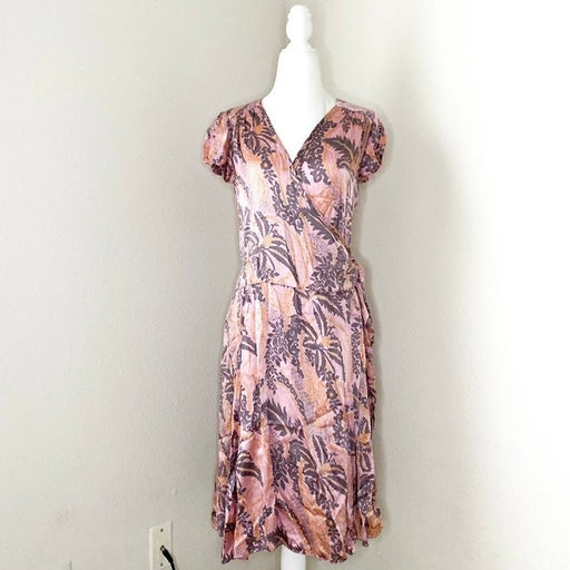 calypso st. barth - silk floral printed wrap dress pink