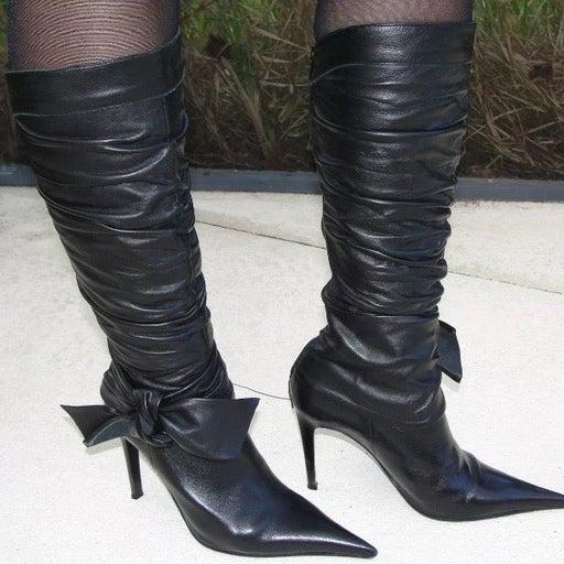 Aldo Leather Knee-High Black Boots 6/6.5