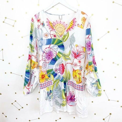 Custo Floral Geo Print Basketweave Tunic