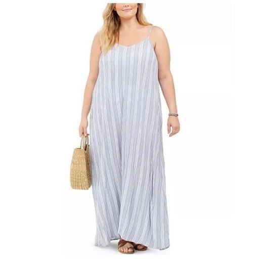 Raviya Striped Rayon Cover-Up Maxi Dress Size 1X
