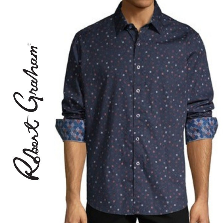 ROBERT GRAHAM Navy Old Cedar Shirt S