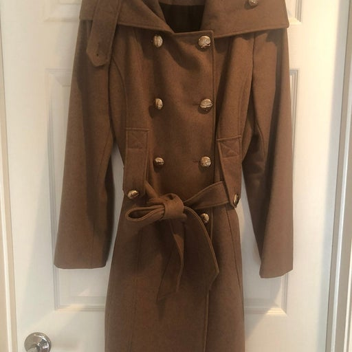 Calvin Klein Double Breasted Wool Coat with Belt