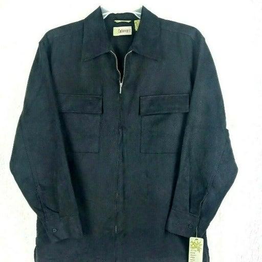 Cubavera Black Shirt Jacket Zipper Med