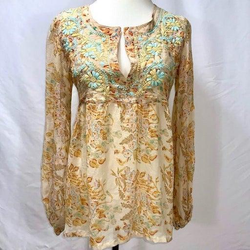 CALYPSO Embroidered Silk Peasant Top Sm