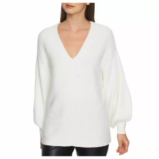 1.State V-neck Sweater White Large