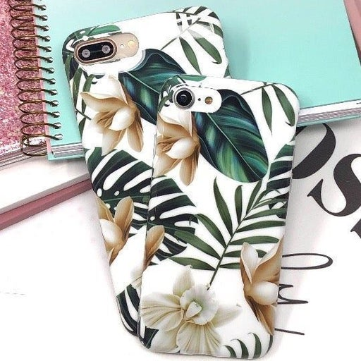 NEW iPhone 7P/8P Green Floral Leaf Case