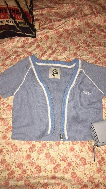 UNIF blue knit crop top