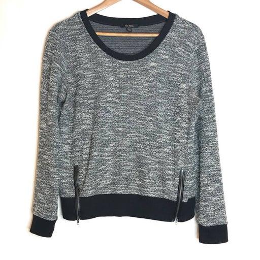 Ella Moss Women's Top Marled Knit Scoop Neck Zipper Sweater Black White  Medium