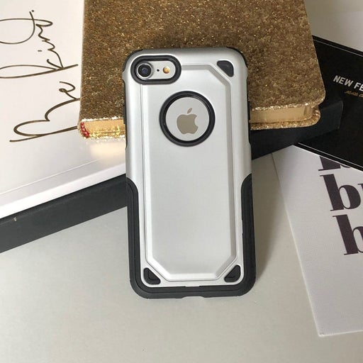 NEW Silver Hybrid Armor Case iPhone 7/8