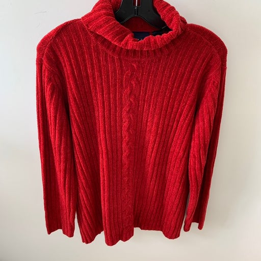 Red Turtleneck Sweater Top Size 6 Sag Ha