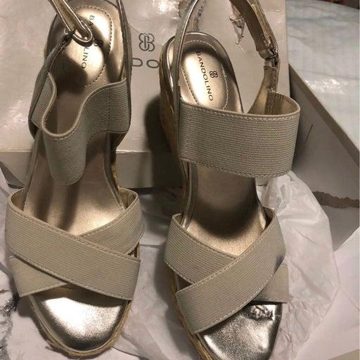 Bandolino Womens Hearsay 2 Gold Wedge Sandals Shoes 8M