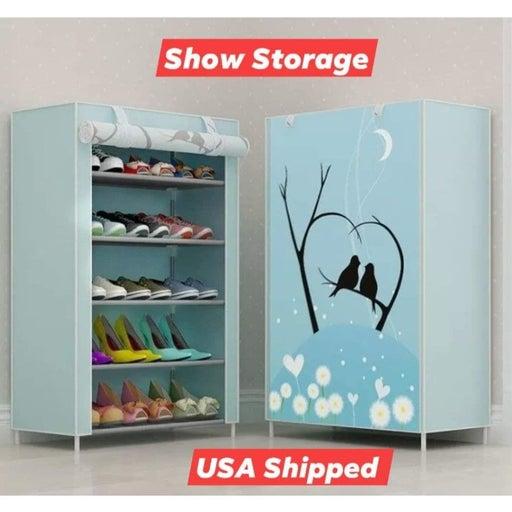 6 Layer 5 Shelf Shoes Cabinet Storage Organizer Shoe Rack Dustproof Standing
