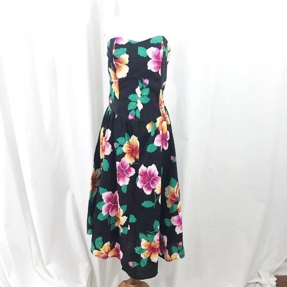 80s Floral Strapless Midi Dress 13 L
