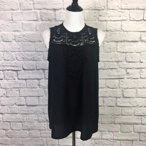 Halogen Black Crochet Tank Top Medium
