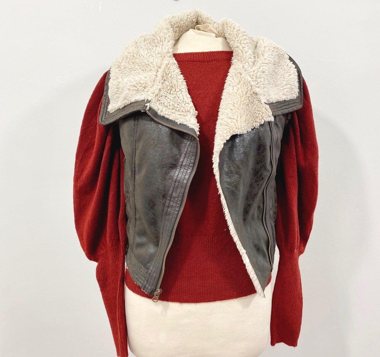 Retro Style Mudd Sherpa Leather Vest