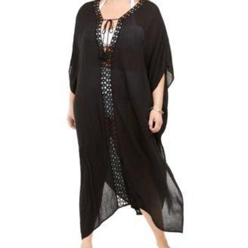 Raviya Plus Size Crochet-Trimmed Cove Black X
