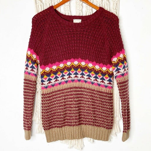 UO Coincidence & Chance Pullover Sweater XS Fair Isle Knit Winter Holiday