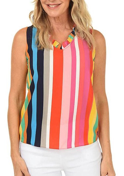 New Sioni Stripe Ruffle Sleeveless Blous